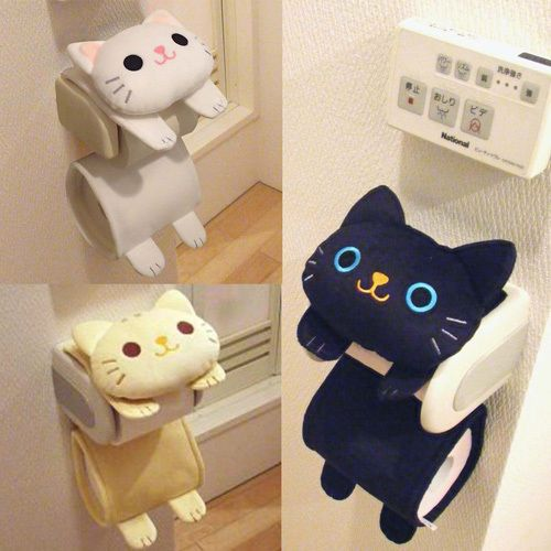 Cat Toilet Paper Holder Roll Storage Cover / Black Tiger Kitty / Fluffy Kawaii…