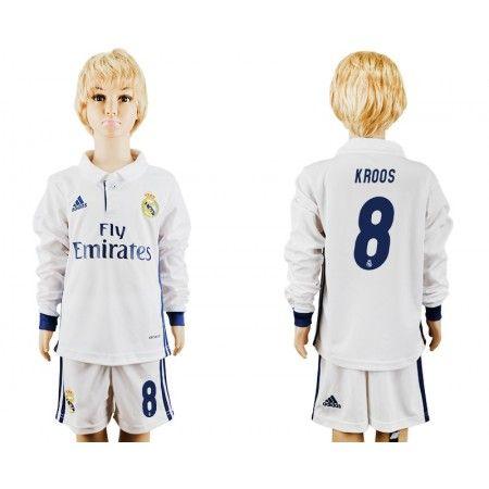 Real Madrid Trøje Børn 16-17 #Kroos 8 Hjemmebanetrøje Lange ærmer,222,01KR,shirtshopservice@gmail.com