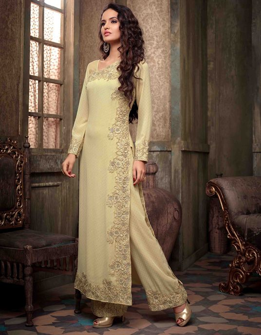 USD 79.28 Cream Georgette Pakistani Style Suit 54415