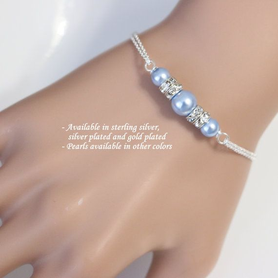 Custom Bridesmaid Bracelet,  Swarovski Light Blue Pearl Bridesmaid Bracelet, Bridal Bracelet, Bridesmaid Gift, Maid of Honor Gift
