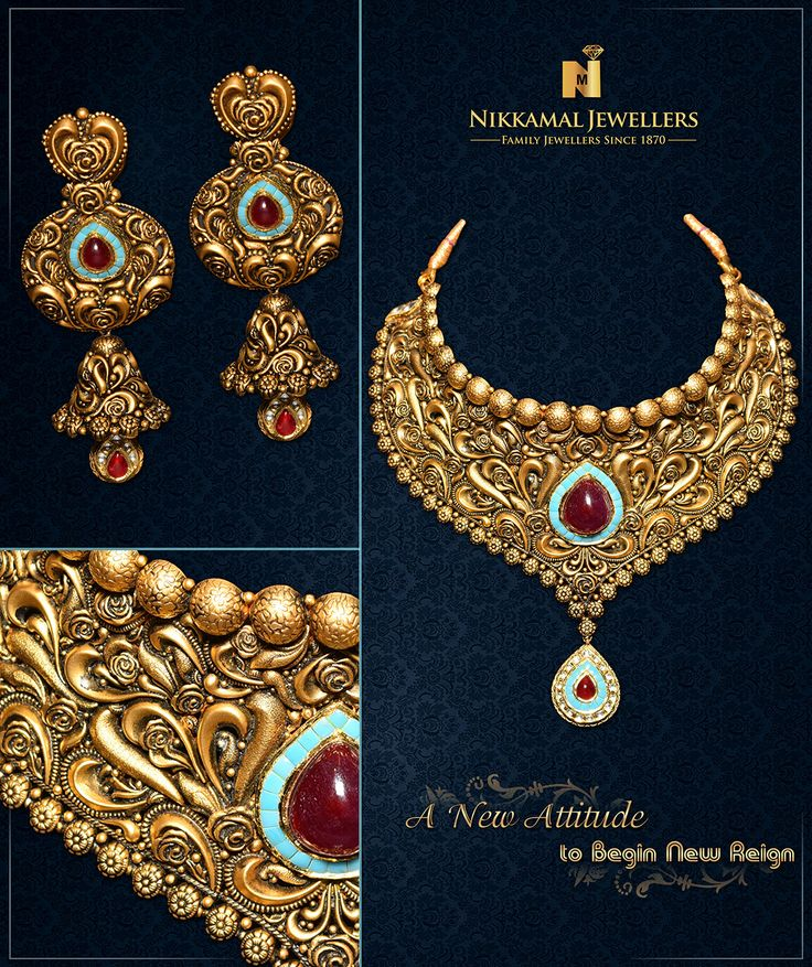 A New Attitude to begin New Reign, Flaunt your Gorgeous Look by teaming this Stylish Gold set with your Ethnic. Buy it at Nikkamal Jewellers, Ludhiana & Jalandhar Showrooms