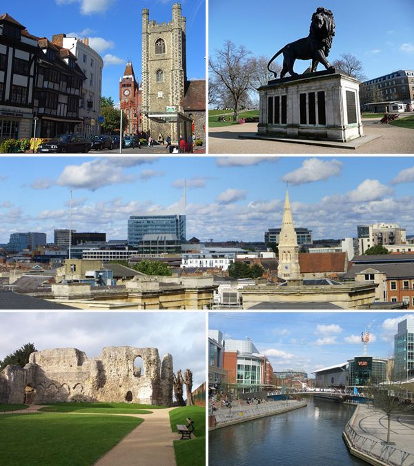 Montage of Reading using images from Commons. Images are of the Town Hall and St Laurence's Church, the Maiwand Lion, the Town Centre skyline from the Royal Berkshire Hospital, Reading Abbey and The Oracle. Andrew Smith, Tom Bastin, Bill Nicholls, Chris Wood and Sebastian Ballard derivative work: BaldBoris