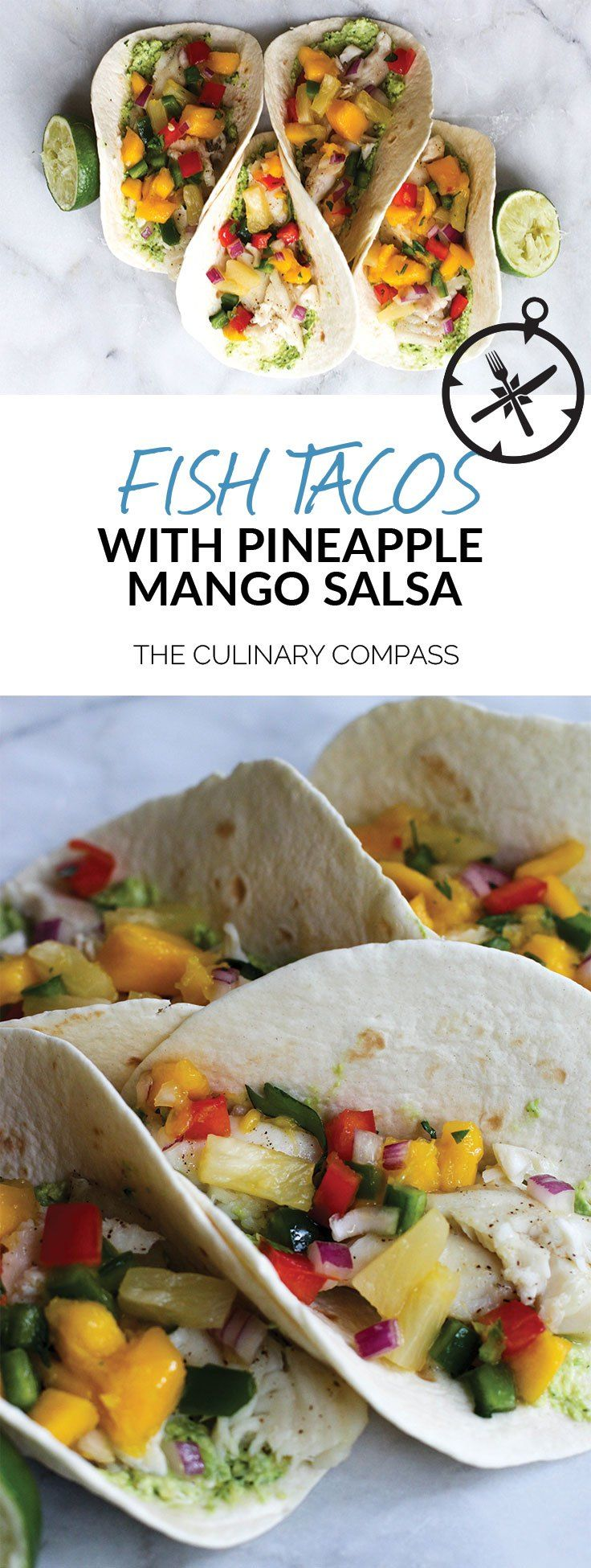 These Fish Tacos with Pineapple Mango Salsa are an easy and flavorful dish for the summer!