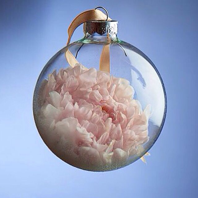 Like ship in a bottle  Handmade peony, cold porcelain for Christmas tree