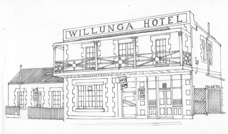 """""""Willungs Hotel"""" Line illustration for beer stubby holders."""