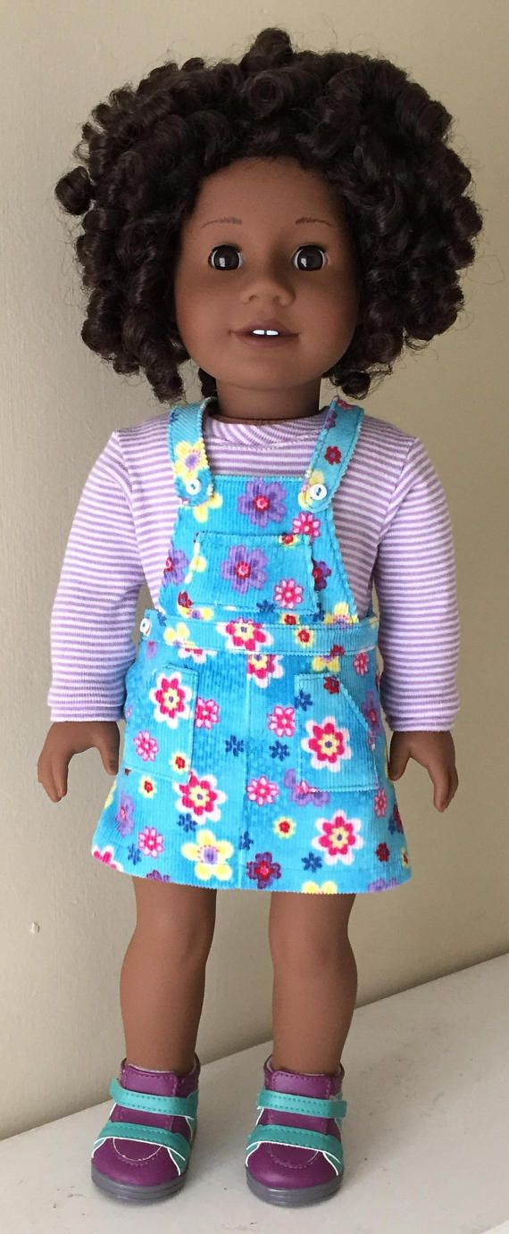 fita American Girl Doll:  flowered corduroy overall jumper and