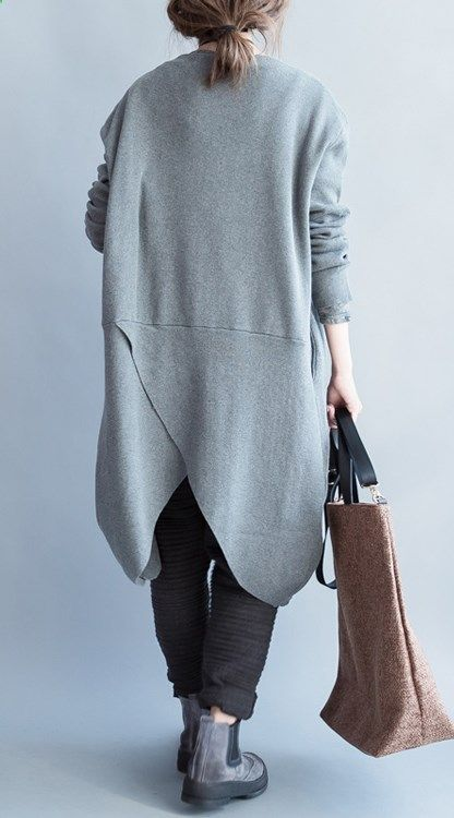 Deep gray sweater coat knitted cardigan asymmetrical plus size sweaters