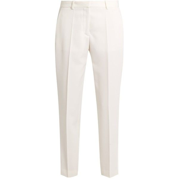 Stella McCartney Mid-rise wool cropped tuxedo trousers ($327) ❤ liked on Polyvore featuring pants, white, striped pants, tuxedo stripe pants, animal print pants, pleated pants and white tuxedo pants