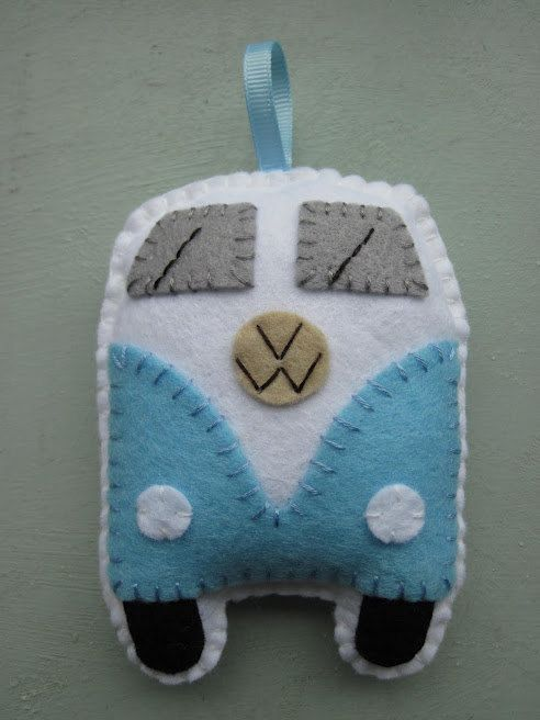 VW Campervan Ornament Toy - Blue . £9.00, via Etsy.