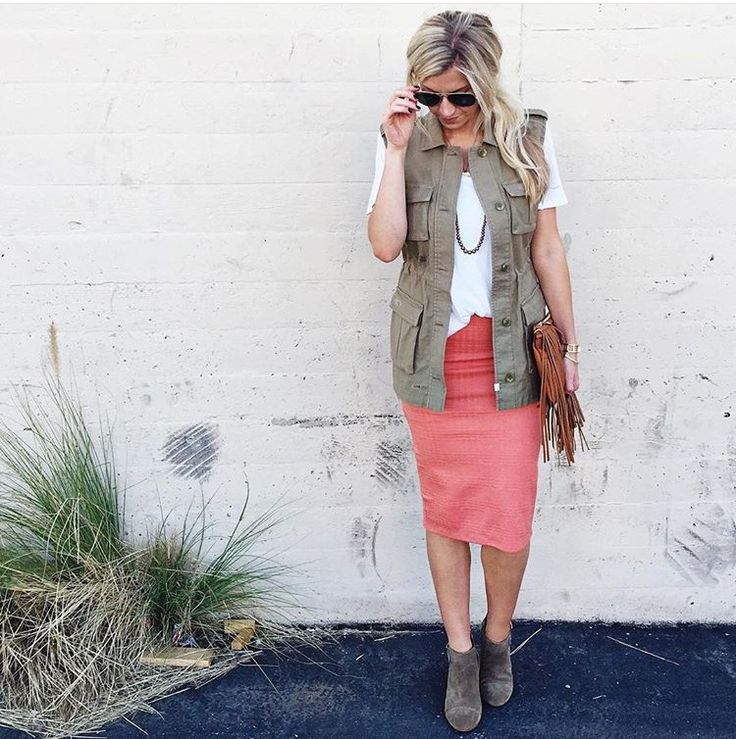 Hmmm. I could make this more me with my coral pencil skirt and army vest!