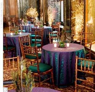 Peacock tablecloths. #Peacock #Wedding