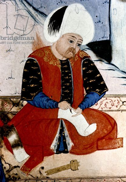 Selim II writing a letter after the death of Suleyman-16th.c.
