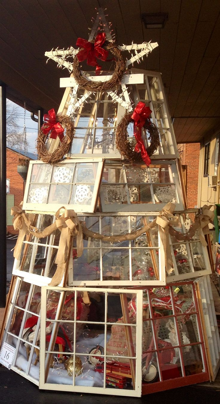 Adorable Christmas Tree made with old windows @ Planters Walk Antique Mall in Mcdonough Ga.