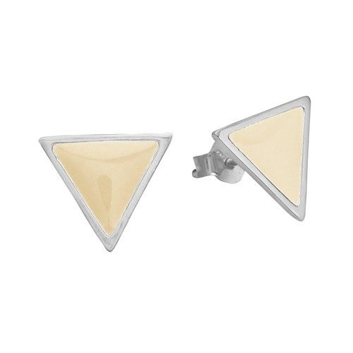 Stud, triangle, beige, sterling silver