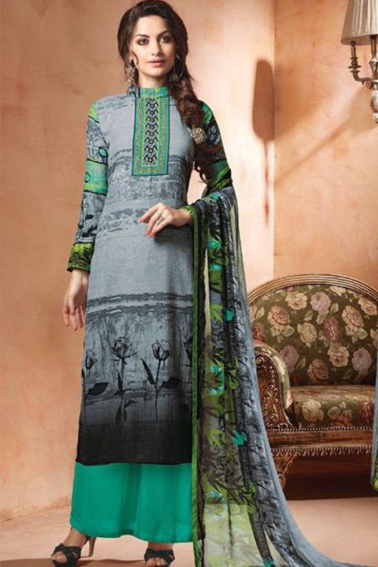 Multi & Sea Green Unstitch Pashmina Suit