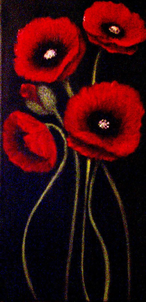 red Poppy Painting red poppies Modern by FineArtWithaTwist on Etsy, $389.00