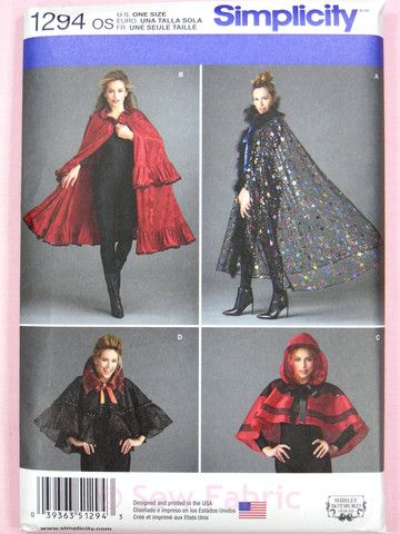 Simplicity 1294 Sewing Pattern - Misses Capes/Cloaks - Costume/Hallowe – Sew Fabric - Dressmaking Creativity & Excellence