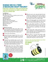 Reuse a coffee can to make a birdhouse that resembles a bumble bee. https://www.teachervision.com/arts-and-crafts/printable/64580.html #EarthDay #crafts
