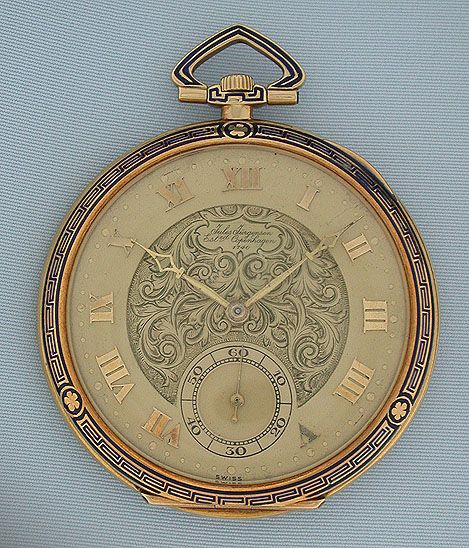 18K gold and enamel Art Deco vintage pocket watch (circa 1920), by Jules Jurgensen #watch #pocketwatch