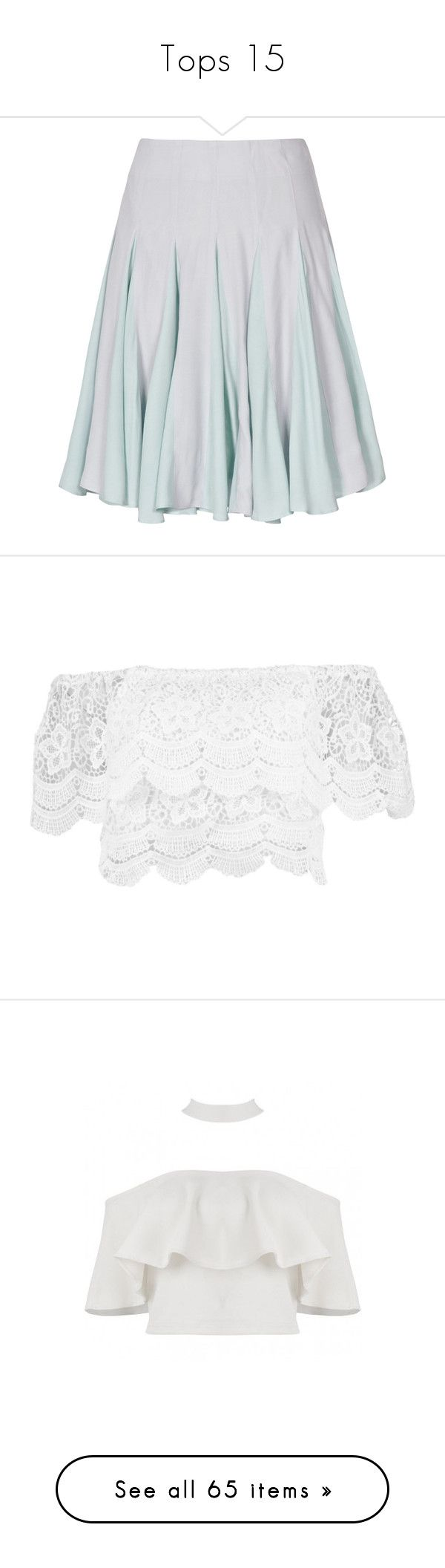 """""""Tops 15"""" by erin-ohlsson ❤ liked on Polyvore featuring skirts, bottoms, ice blue, reiss skirts, reiss, blue skirt, knee length pleated skirt, pleated skater skirt, tops and crop tops"""