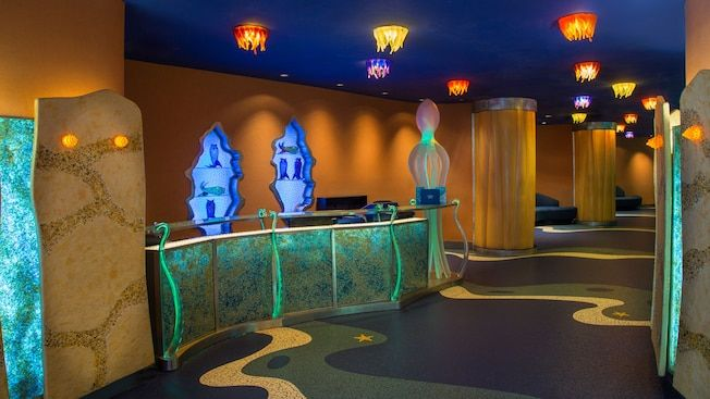 When you check in at Coral Reef Restaurant, check out the otherworldly reception area, featuring lit seashell-shaped alcoves housing glass fish sculptures and a phosphorescent octopus standing sentry, aglow like many of the creatures of the deep.