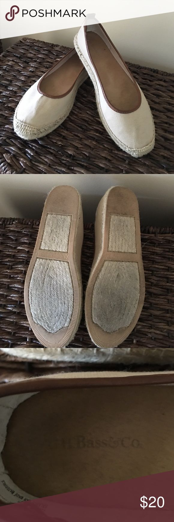 SALE🎉 Beige espadrille flats with brown leather These are GH Bass and Co espadrille flats.  Padded inner soles.  No visible wear. Except bottom a little dirty on soles.  Very comfy.  Beige canvas with brown leather trim. Bass Shoes Espadrilles