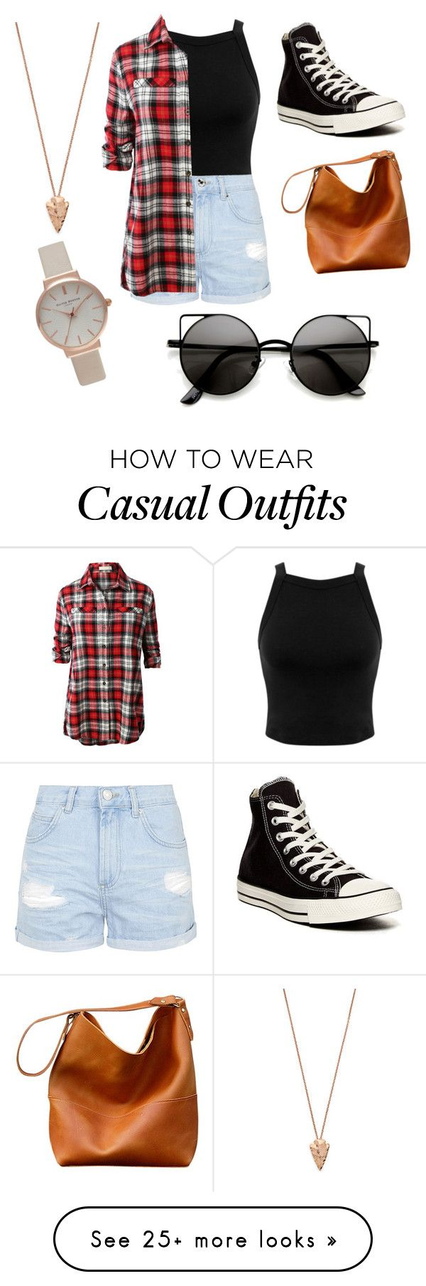 """Casual Outfit #32"" by ameerasufiya on Polyvore featuring Miss Selfridge, Topshop, LE3NO, Converse, Pamela Love and Olivia Burton"