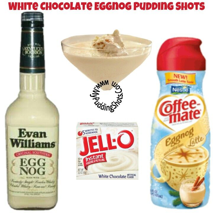 White Chocolate Egg Nog Pudding Shots -  See full recipe, register, save your favorites, search recipes and much more at http://mypuddingshots.com/recipe/white-chocolate-egg-nog-pudding-shots/