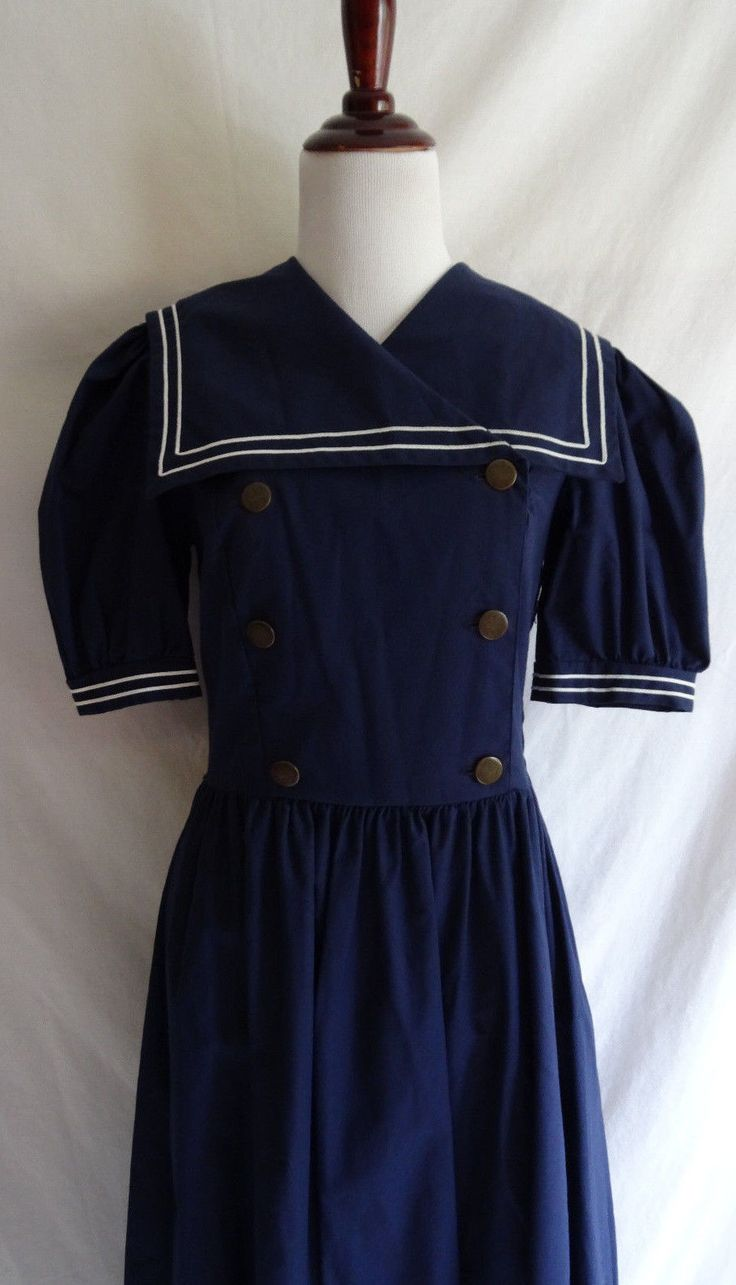 Vintage 80's Laura Ashley Navy Blue White Trim Button Sailor Nautical Tea Dress | eBay