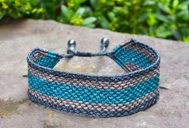 Men's Macrame Bracelet with Handwoven Stripes $90