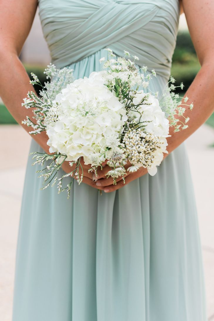 White Hydrangea and Wildflower Bridesmaid Bouquet | Simply Elegant Floral Decorators | Details by Martha | Ashley Nicole Photography