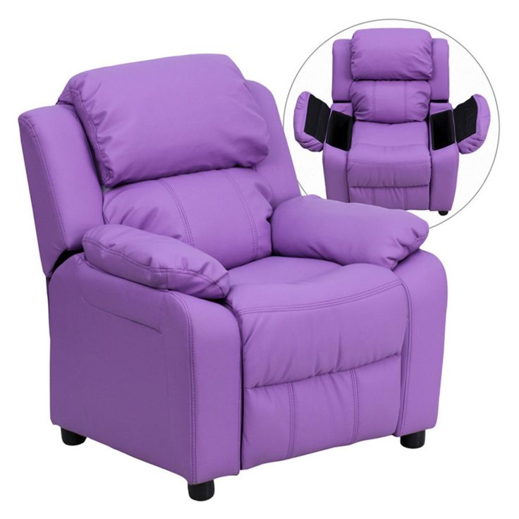 Flash Furniture Deluxe Heavily Padded Vinyl Kids Recliner with Storage Arms - Lavender - BT-7985-KID-LAV-GG