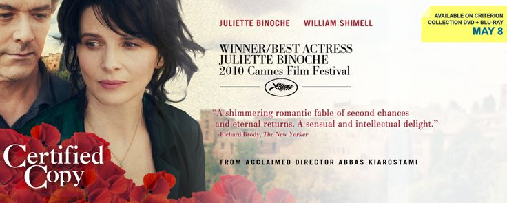 Juliette Binoche won Cannes Best Actress for this film by Abbas Kiarostami, his first made outside Iran. She plays a gallery owner in Italy who attends a lecture by a British author (opera star William Shimell) on authenticity & fakery in art.