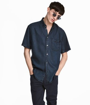 Camisa manga corta Regular fit | Azul denim oscuro | Hombre | H&M CO