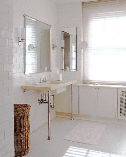 White Subway Tile Walls In The Bathroom Bathroom
