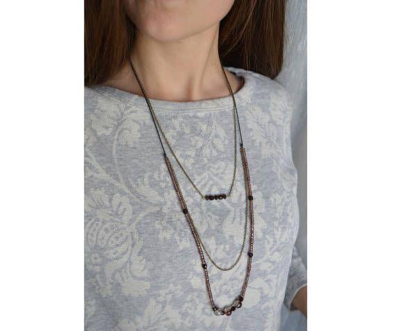 Boho brown purple long women beaded necklace Glass beads