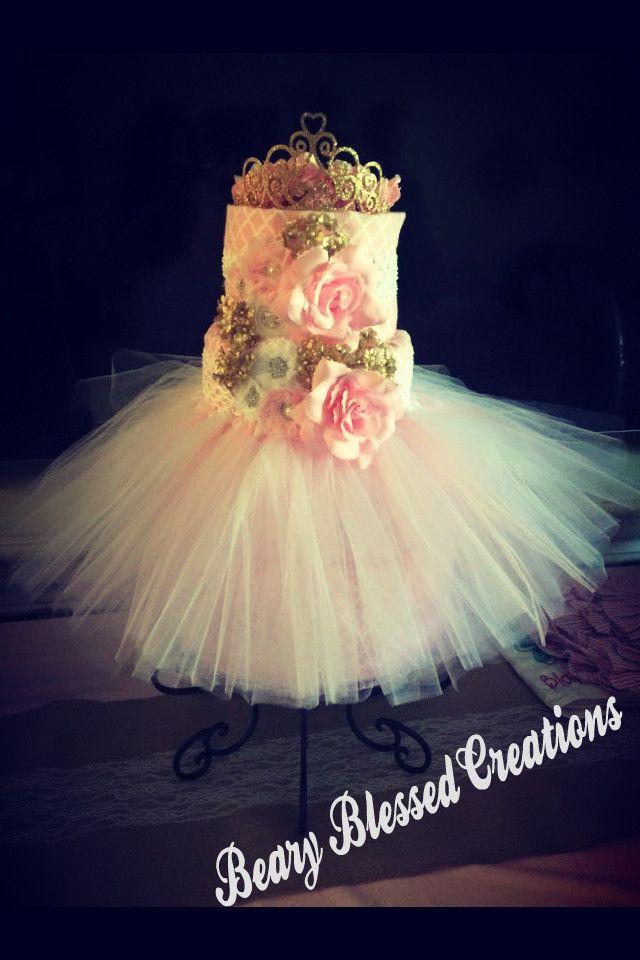 Elegant 4-Tier Princess Diaper Cake, Pink & Gold Diaper Cake, Baby Shower Diaper Cake