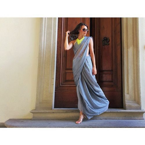 30 Gorgeous Sari Outfits— Traditional, Modern, & Unexpected  #refinery29  http://www.refinery29.com/sari-outfits#slide-13  Blogger Jules Monson at Firenze in a @littleblacksari....