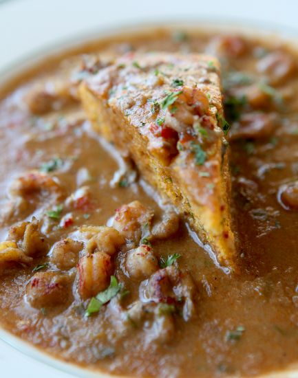 Breaux Bridge Crawfish Étouffée with Crawfish Cornbread with Cheddar & Jalapeno _ According to Acadian cooks, étouffée - invented in Breaux Bridge, Louisiana, in the late 1920s—is the most celebrated crawfish creation of all time!