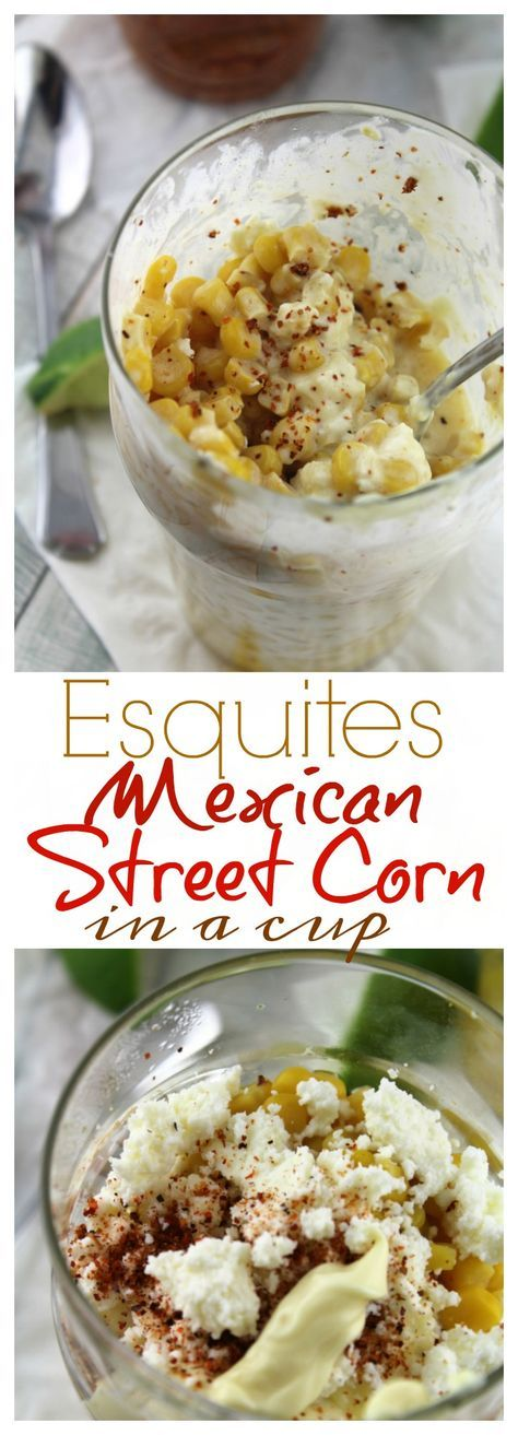 Esquites is a an off the cob version of elotes - grilled Mexican sweet corn smothered in creamy, chile lime sauce.