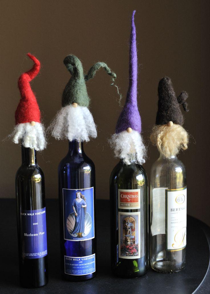 Elves / Gnomes … handmade bottle toppers - wet felted from ...