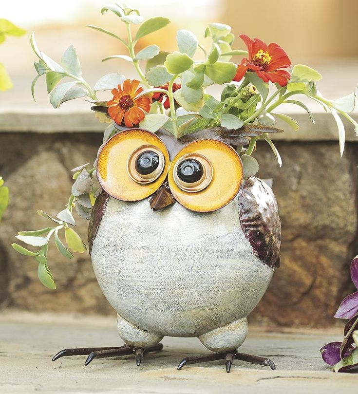 Small Durable And Cuddly Owl Planter <3