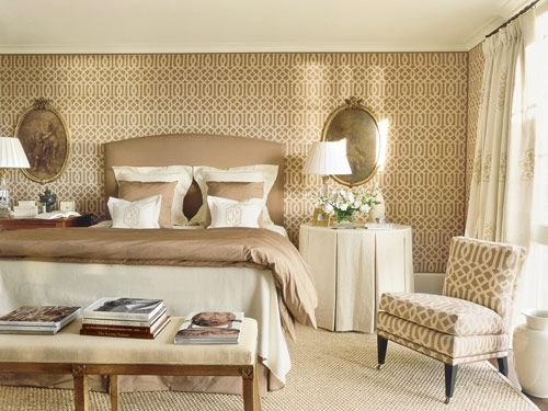 Suzanne Kasler - Master Bedroom - Veranda Magazine  area rug thru Meridameridian.com (an L&L product available to the trade only)