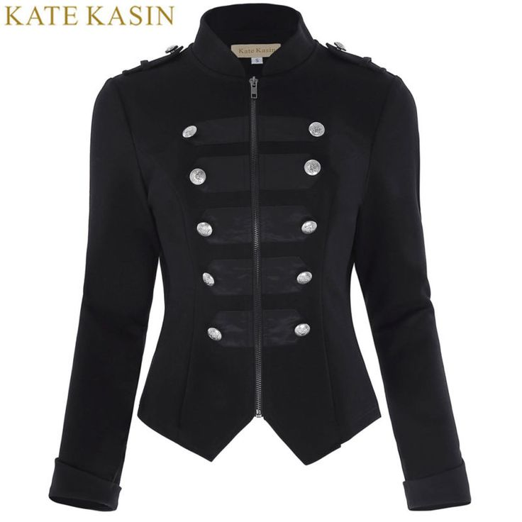 Kate Kasin New Retro Vintage Victorian Brocade Corset Coats Women Tops 17 Black Long Sleeve Button Outerwear Military Jacket