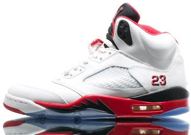 "136027-120 Air Jordan 5 ""Fire Red"" White/Fire Red - Black   $113   http://www.sneakerforsale2014.com/136027-120-air-jordan-5-fire-red-white-fire-red-black-671.html"
