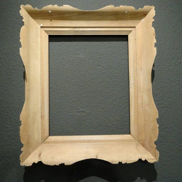 Brocante blank houten lijst voor schilderij