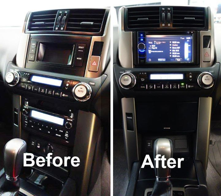 Replaced the factory head unit in this 2013 Prado GXL  with a Clarion NX501A DVD/Navigation/Bluetooth Unit, used a Prado fascia kit, and integrated the factory reverse camera and steering wheel interface.