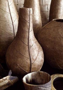 Tobacco leaf vase made by artisans in Jacmel, Haiti.