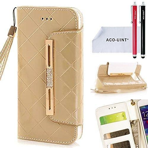 ACO-UINT Galaxy S6 Wallet CaseS6 Wallet CaseBling Diamond Grid Leather Wallet Case with Card Slots Wrist Strap for Samsung Galaxy S6 Golden