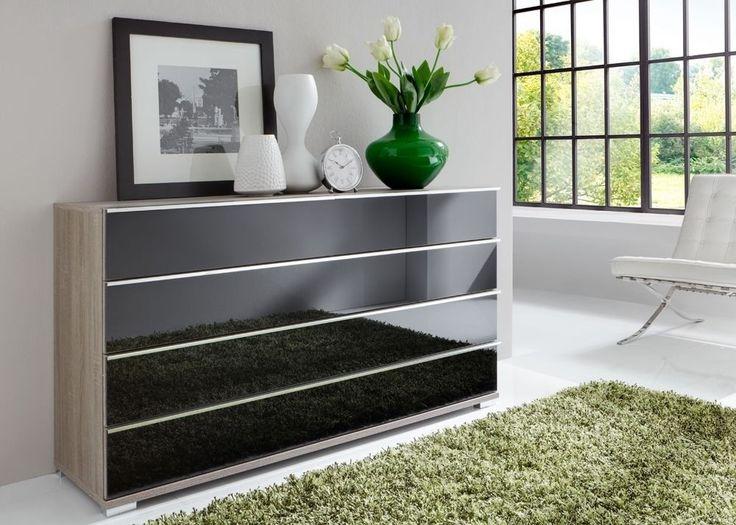 Simple Kommode Loft Eiche Tr ffel mit Glas Schwarz Buy now at https